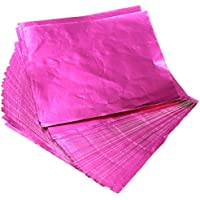 KINGSO 100pcs Square Sweets Candy Chocolate Lolly Paper Aluminum Foil Wrappers Pink