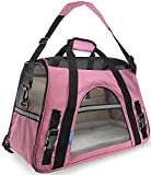 #5: SRI High Quality Airline Approved Pet Carriers w/ Fleece Bed For Dog & Cat - Soft Sided Kennel (PINK)