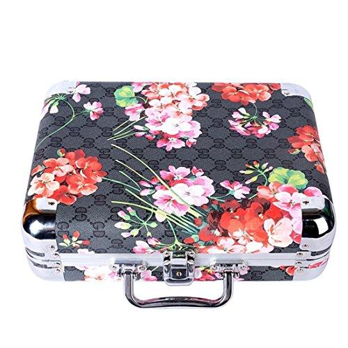 Leydee valigia forma gioielli di stoccaggio box-portable trucco misura grande capacità viaggi gioielli boxes-cosmetic custodia organizer con chiusura di metallo chiusura, dark grey, small