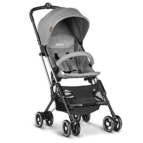 Besrey Silla ligera de paseo para bebé ligera y compacta plegable como equipaje de mano en el avión (0-18kg, 6 meses- 3 años) gris