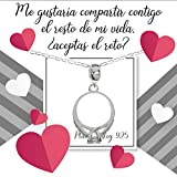 Collar charm anillo Solitario en Plata de Ley con mensaje de pedida Plata de Ley - Regalo de pedida de mano