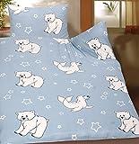 Baby bambini estate biancheria da letto 100 x 135 + 40 x 60 cm, immagine: foca + orso polare, per bambini letto, in microfibra (42920)