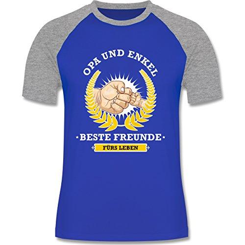 Opa - Opa und Enkel - beste Freunde fürs Leben - zweifarbiges Baseballshirt für Männer Royalblau/Grau meliert