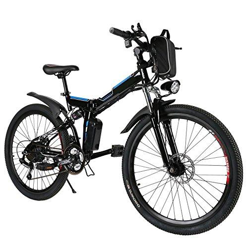 Mymotto -Bicicleta eléctrica de montaña de 26 pulgadas, velocidad hasta 25km/h con batería de litio, Negro