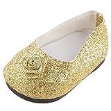 """Chaussures Mode Accessoire Bijoux Cadeau pour 18"""" Poupée American Girl Fille - Doré"""