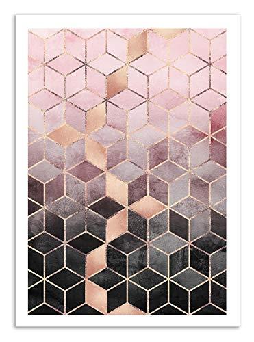 Art-Poster - Pink Grey Gradient Cubes - Elisabeth Fredriksson