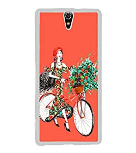 Girl with Flowers on Cycle 2D Hard Polycarbonate Designer Back Case Cover for Sony Xperia C5 Ultra Dual :: Sony Xperia C5 E5533 E5563