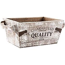 Pide X esa Boca Quality - Macetero de madera decapada, asas laterales, diáfano, color marrón