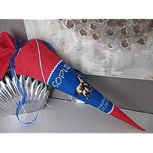 #51 Pferd Pferde blau rot Schultüte Stoff + Papprohling + als Kissen verwendbar