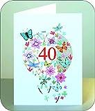 40 Geburtstag Laserschnitt Kunst Karte 3D Blumen Schmetterlinge 16x11cm