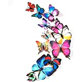 Bfeplfashion 12Pcs 3D Butterfly DIY Wall Mural Stickers Door Decals Home Room Decorations - Colourful