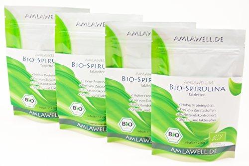 Flüssigkeit Spirulina (Amlawell Bio-Spirulina Tabletten / 1000g / 4000 Presslinge / BIO - DE-ÖKO-039 (1))