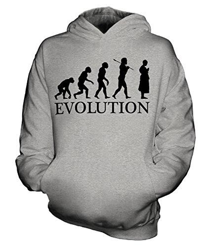 dhistischer Mönch Evolution Des Menschen Unisex Kinder Jungen/Mädchen Kapuzenpullover, Größe 9-11 Jahre, Farbe Grau Meliert (Neun Menschen Kostüm)