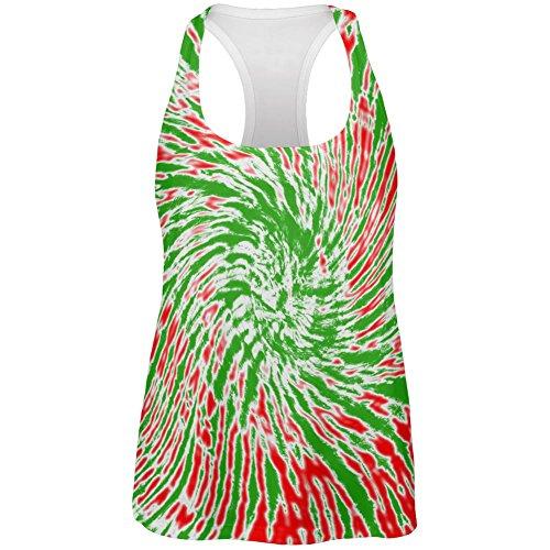 Weihnachten-Tie Dye rot grün Allover-Womens Racerback Tank-Top Multi