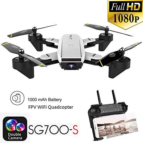 TPulling Intelligente SG700-S Drohne Quadcopter  2.4Ghz 4CH Weitwinkel Wifi 1080 P Optischer Fluss Dual Kamera RC Doppelter Kamera Faltender Quadcopter (Weiß)