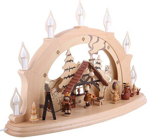Schwibbogen Weihnachtsstube - 57x38x15cm - Original Erzgebirge Schwibbögen - Zeidler Holzkunst -