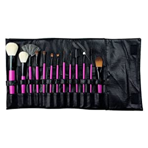 Royal & Langnickel – Set de 13 brochas con cerdas hechas de pelo natural y estuche enrollable sintético, de color rosa