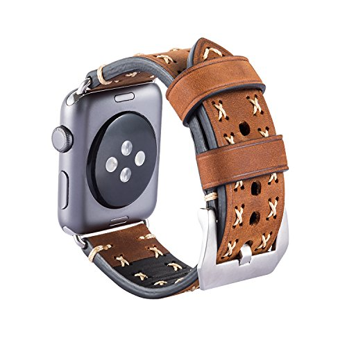 Armband für Apple Watch, Leder Armband Vintage Uhrenarmband für Apple Watch Sport/Edition Series 1, Series 2 und Apple Watch Nike+ (Braun, 42mm)