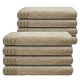 Gallant 8 tlg Set Gästehandtücher creme beige 8 Gästetücher 30 x 50 cm 100% Baumwolle Frottee Handtuch Set creme beige