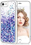wlooo Handyhülle iPhone 8 Glitzer Hülle, iPhone 6s Hülle, Flüssig Treibsand Glitter Quicksand Transparent Silikon Weich TPU Bumper Original Schutzhülle Case für iPhone 6/6S/7/8