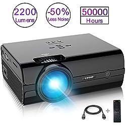 Mini Proyector, LESHP 2200 Lumen Multimedia Vídeo Proyector LCD Portátil Cine en Casa con USB SD HDMI VGA para Videojuegos/ Películas/ Partidos, Negro