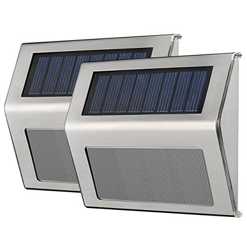 VicTsing 2 Stk LED Solarleuchte Garten Edelstahl 19 lum Solar Wandleuchte Solarlampe mit Auto On/Off, Wetterfest für Garten Außen Terrasse Hof