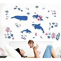 Balene pesci oceano adesivo da parete Casa Rimovibile in PVC carta da parati soggiorno camera da letto Cucina Art Picture Murals Sticks finestra porta decorazione + 3d rana regalo adesivo per