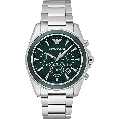 Emporio Armani Men's Quartz Watch with Black Dial Analogue Display and Black Stainless Steel Bracelet AR6090