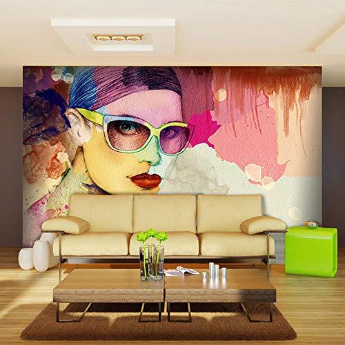 Benutzerdefinierte Fototapete Mode Mädchen Tapete Friseursalon Aquarell Wandbekleidung Schönheitssalon Kaffee Wandtapeten 350x256cm