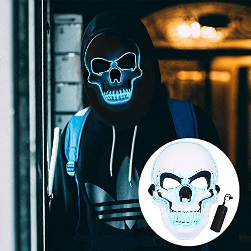 ELINKUME Schädel Modellierung LED Kaltlicht Maske Halloween Blaulicht Halloween Karneval Nacht Ghost Dance Erwachsene Unisex fluoreszierende dekorative Requisiten Weiß Horror leuchtende - Gruselig Modern Dance Kostüm