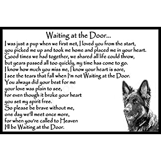 German Shepherd Alsatian pet dog memorial magnetic sign - Waiting at the Door 7