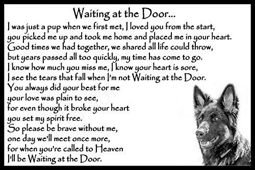 German Shepherd Alsatian pet dog memorial magnetic sign - Waiting at the Door 1