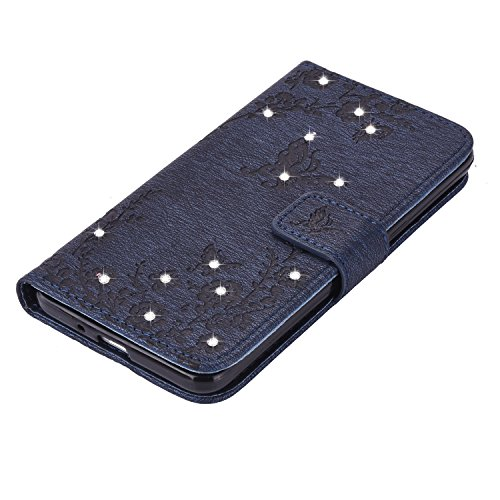 Ecoway Case / Cover / Phone Case / Case pour iPhone 7G / 7,incrusté motif de diamant Bling Crystal Glitter Strass gaufrage design Folio PU Housse en cuir dans le livre de style avec support fonctionne bleu marine