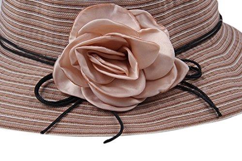 Dantiya Chapeau de Soleil Femme Eté en Coton avec Rose Rabattable 6 Couleurs Kaki