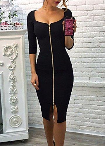 Donna Vestitini Midi-dress Bodycon Un abito Cocktail Abiti Elegante Vestito Cerniera Maniche 3/4 Abito Aderente Vestiti Nero