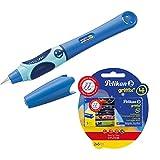 Pelikan 927970 Füllhalter Griffix Blau (Bluesea) für Rechtshänder + Großraum-Tintenpatronen 2 x 5 Stück