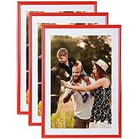 Conjunto de 3 marcos de la foto A4 (rojo) - marco de fotos resina con panel de vidrio de protección - Se suministra con el puente del pie y ganchos para ...