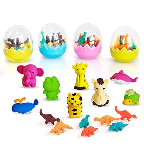 32x Tier und Dinosaurier Eier Sammlerstück Satz von zufälligen entzückenden Tiere Radiergummis beste Puzzle Spielzeug für Kinder Spaß und Spiele
