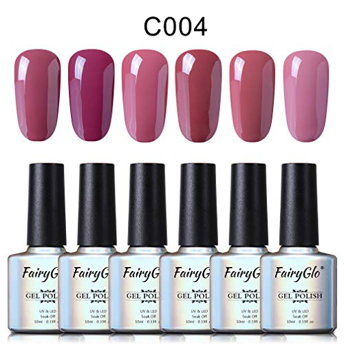 UV Nagellack Nail Gel Polish UV LED Soak off Gellack Farben Nude Gel Nageldesign Maniküre Set für Nail Art von Fairyglo-Set004