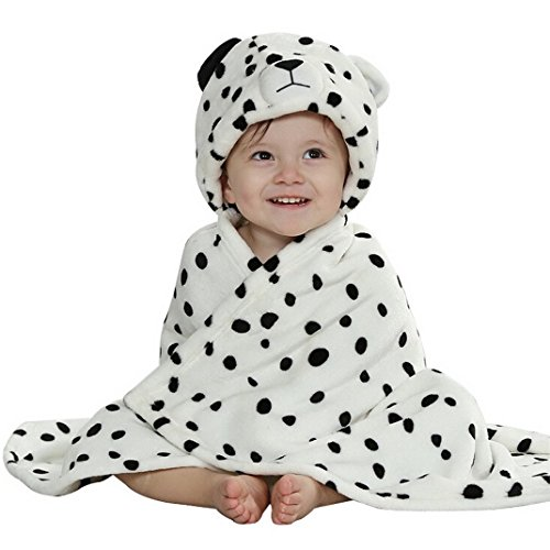 LLQ Baby Badetuch mit Kapuze,Mädchen Jungen Bademäntel Kapuze Badetuch Flanell Umhang mit Bademänteln-BB23-Leopard (Leopard Kapuzen Schal)