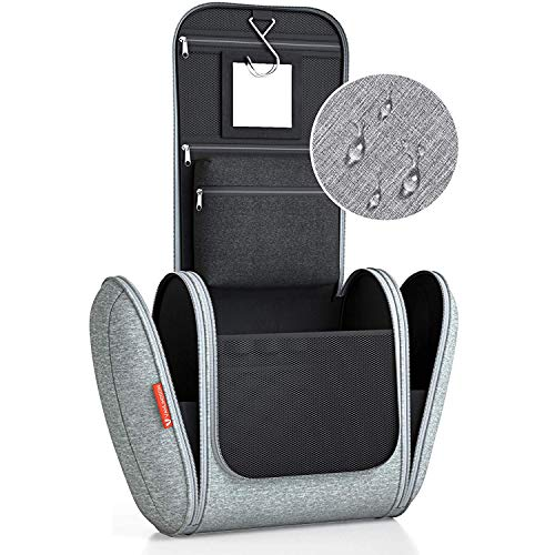Kulturbeutel XXL [Design 2020] Kulturtasche für Männer und Frauen [7 Liter Stauraum], Kosmetiktasche für Mann und Frau, Waschtasche, Waschbeutel zum Aufhängen für Damen & Herren (grau)