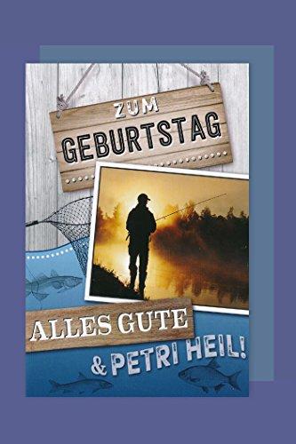 Angler Geburtstag Karte Grußkarte Fischen Petri Heil 16x11cm -