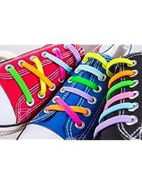 kuyia no tie de silicona Fashion cordones para niños y adultos impermeable fácil de limpiar soporte de elástica Athletic running zapatillas de deporte encaje, KIDS SIZE MIX COLOR