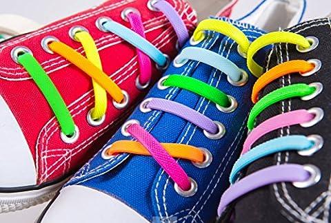 Kuyia sans Cravate Silicone Mode Lacets pour enfants et adultes imperméable facile à nettoyer élastique plat Athletic Running Chaussures de sport en dentelle, KIDS SIZE MIX