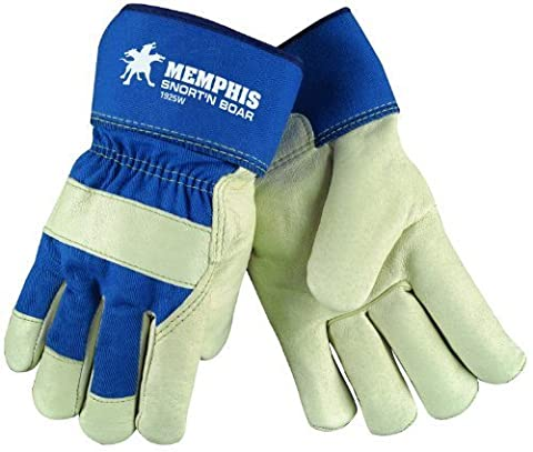 MCR Safety 1925WS Snort-N-Boar Premium Grain Pigskin Leather Palm Men's Gloves with Rubberized Cuffs and Wool Lining, Cream/Blue, Small, 1-Pair by MCR Safety