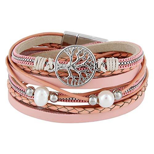 StarAppeal Armband Wickelarmband mit Perlen, Ketten, Flechtelement und Lebensbaum Anhänger, Magnetverschluss Silber, Damen Armband (Rose-Puder)
