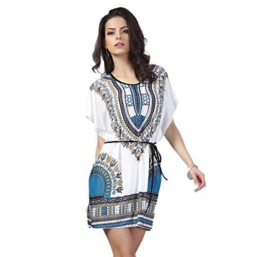 QIYUN.Z (TM) Neuen WeißEn Sockel Lösen Flügelkurzhülse Oansatz Der Tunika Klemmt Taille Kleid Damen Blusen Tuniken T-Shirts Tops Shirt Kleider Lake Blue