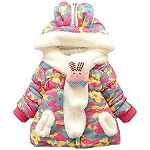 Happy Cherry Bebé Niña Niñita Ropa Chaqueta de Algodón Outerwear Engrosado Acolchado Abrigo con Capucha Invierno Kids Coat 3 Colores a Elegir
