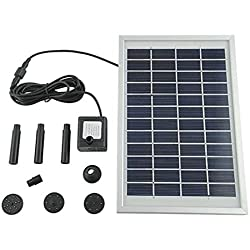 mvpower Pompe à eau Pompe solaire pompe solaire pour étang solaire pompe de bassin jardin Pompe pour bassin de jardin ou fontaine 5W 500L/H