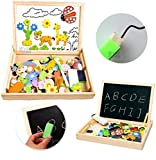 #3: UJIE™ Wooden Magnet Puzzle Double Sided White Board & Black Board for Writing & Drawing